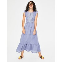 Lucinda Broderie Dress Blue Women Boden, Blue