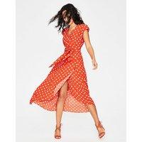 Antonia Wrap Dress Red Women Boden, Orange