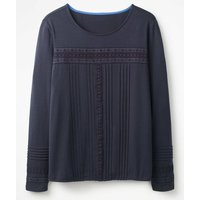 Pleated Jersey Top Navy Women Boden, Navy