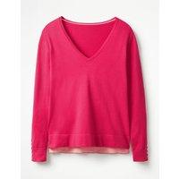 Tilly V-neck Jumper Pink Women Boden, Pink