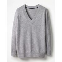 Cashmere Relaxed V-neck Jumper Silver Women Boden, Silver