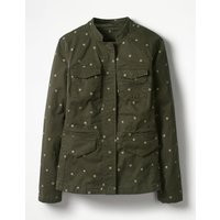 Carly Embroidered Jacket Khaki Women Boden, Khaki