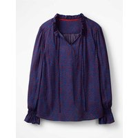 Boden Melissa Ruffle Neck Top Blue Women Boden, Blue
