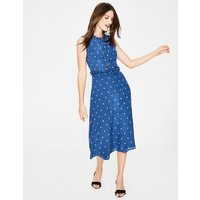 Effie Silk Dress Blue Women Boden, Blue