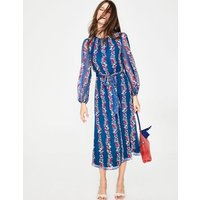 Kathleen Midi Dress Blue Women Boden, Blue