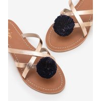 Emma Pompom Sandals Metallic Women Boden, Metallic
