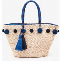 Pompom Beach Bag Blue Women Boden, Blue