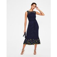 Hattie Embroidered Dress Navy Women Boden, Navy