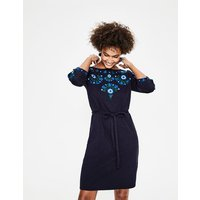 Leyla Embroidered Jersey Dress Navy Women Boden, Navy