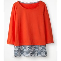 Jersey Broderie Overlay Top Red Women Boden, Red