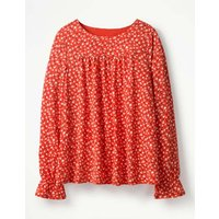Flare Cuff Jersey Top Red Women Boden, Red