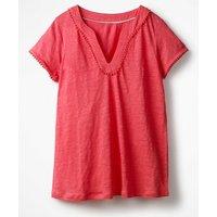 Linen Notch Neck Jersey Top Pink Women Boden, Pink