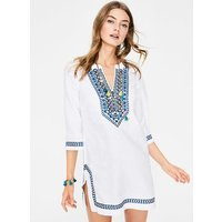 Embroidered Linen Kaftan White Women Boden, White