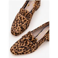 Alicia Heeled Loafers Brown Women Boden, Leopard