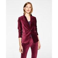 Velvet Longline Blazer Purple Women Boden, Burgundy