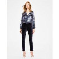 Velvet Straight Leg Trousers Navy Women Boden, Navy