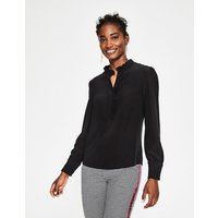 Romaine Silk Shirt Black Women Boden, Black