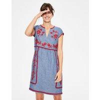 Bea Linen Embroidered Dress Denim Women Boden, Blue