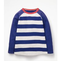 Raglan T-shirt Navy Boys Boden, Blue