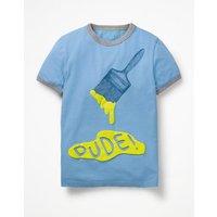 Paint Splash T-shirt Blue Boys Boden, Blue