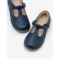 Leather T-Bar Flats Navy Girls Boden, Navy