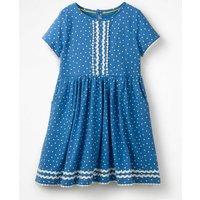 Heart Print Jersey Dress Blue Girls Boden, Blue