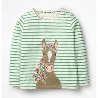 Stripy Animal Applique T-shirt Green Girls Boden, Green