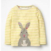 Stripy Animal Applique T-shirt Yellow Girls Boden, Ivory