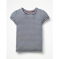 Short-sleeved Pointelle Top Navy Girls Boden, Blue
