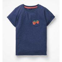 Embroidered Pocket T-shirt Blue Girls Boden, Blue
