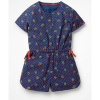 Printed Woven Playsuit Blue Girls Boden, Blue