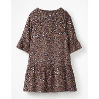 Frill Sleeve Printed Dress Brown Girls Boden, Brown