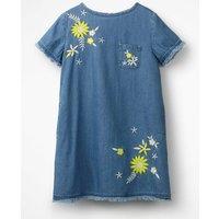 Embroidered Denim Dress Blue Girls Boden, Blue