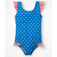 Frilly Printed Swimsuit Blue Girls Boden, Blue