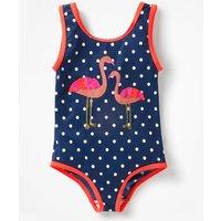Applique Swimsuit Navy Girls Boden, Blue
