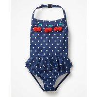 Halterneck Applique Swimsuit Navy Girls Boden, Blue