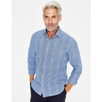 Linen Cotton Pattern Shirt Blue Men Boden, Multicouloured