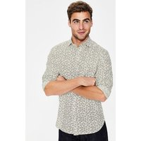 Linen Cotton Pattern Shirt White Men Boden, White