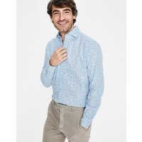 Linen Cotton Pattern Shirt Blue Men Boden, Blue