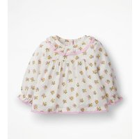 Flowery Woven Top Ivory Baby Boden, Pink