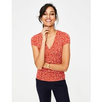 Short Sleeve Wrap Top Red Women Boden, Red