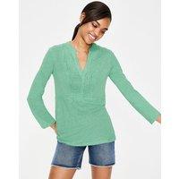 Linen Pintuck Jersey Top Green Women Boden, Green
