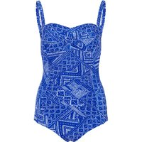 Bonmarche Geo Print Ruched Front Swimsuit - Blue - size 18