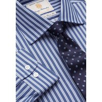 "35"" Sleeve Navy And Blue Bold Stripe Single Cuff Shirt"