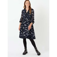 Embroidered Silk Dress Navy and foam