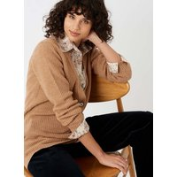 Cashmere Cable and Rib Cardigan Sand