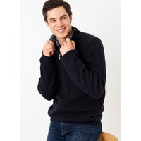 Cashmere Ribbed Zip Turtle Neck Midnight