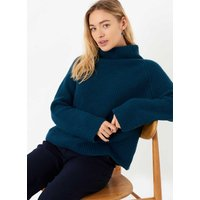 Cashmere Ribbed Funnel Neck Sapphire