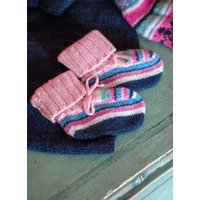 Cashmere Hand Knit Inca Bootees Petal