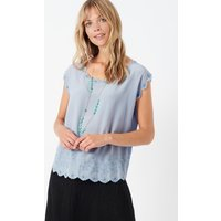 Embroidered Silk Shell Ice blue